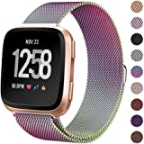 """Milanese Metal Bands Compatible for Fitbit Versa Bands/Versa Lite Edition Bands for Women Men, Replacement Stainless Steel Wristband Accessories Strap (S(5.1""""-7.9""""), Multicolor)"""
