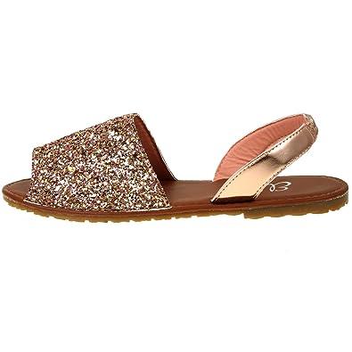 7b267bed7 Ladies ELLA Glitter Slingback Flat Menorcan Open Toe Spanish Sandals Rose  Gold UK 6
