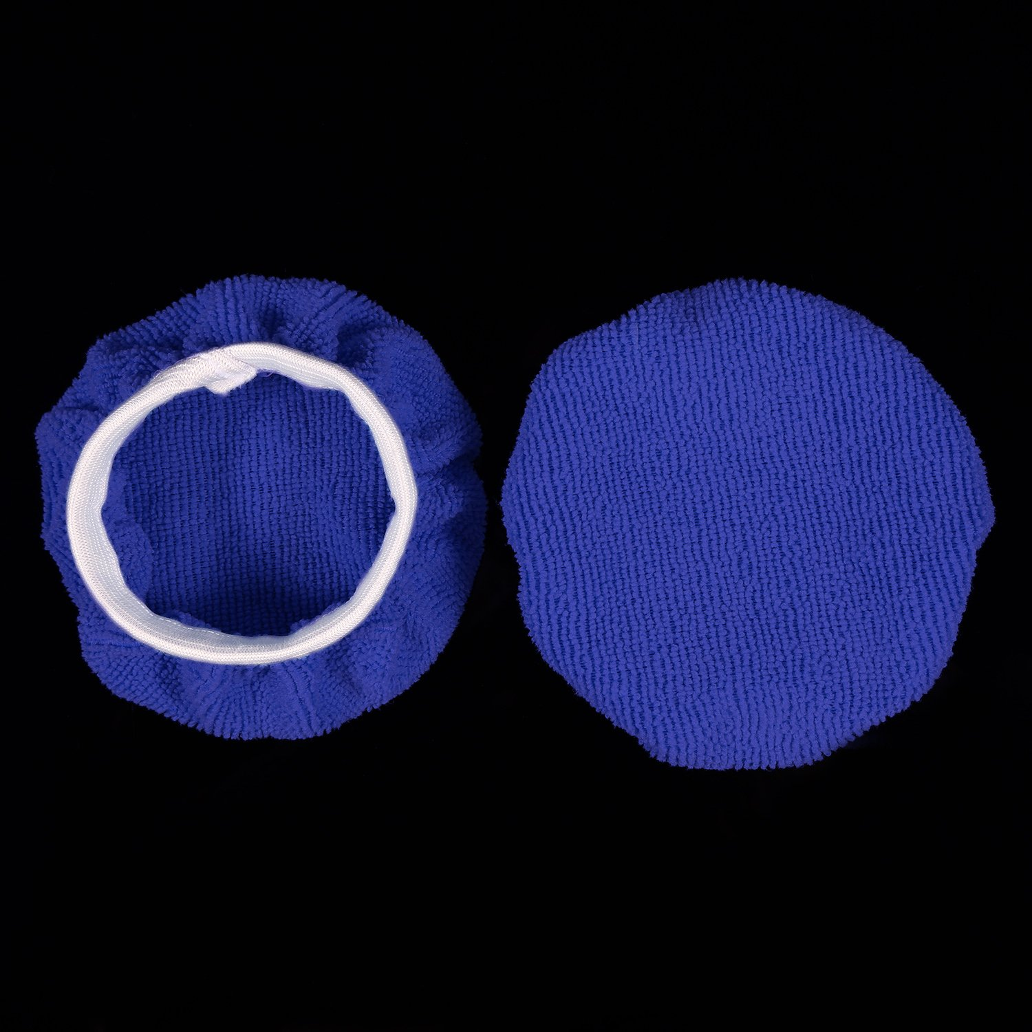 TecUnite 8 Pack Polishing Bonnet Buffing Pad Cover Soft Microfiber Car Polisher Pad Bonnet for Car Polisher (Dark Blue, 7 to 8 Inches) by TecUnite (Image #7)