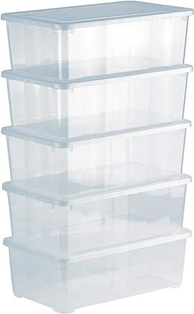 Grizzly 5 x Caja de Almacenaje con Tapa de 5 L - Cajón de Plástico Transparente Apilable - Caja Multiusos Organizador de Armarios para Ordenación de Ropa: Amazon.es: Bricolaje y herramientas