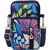 Kekebest Women Men Nylon Shoulder Bag Multicolor Floral Prints Students School Outdoor Sports Arm Phone Bag Waist Bag