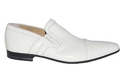 7351 Italian Mens White Leather Slip On Shoes