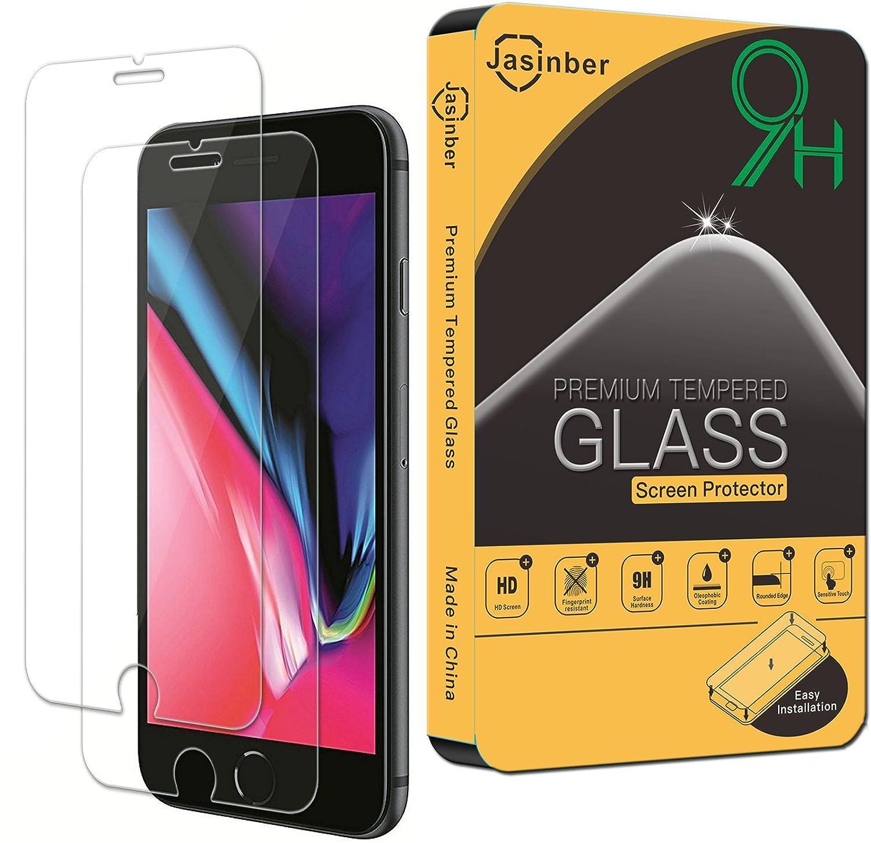 b5105e3eaf8 Jasinber [2-Pack] Mica de Vidrio Cristal Templado para iPhone 8