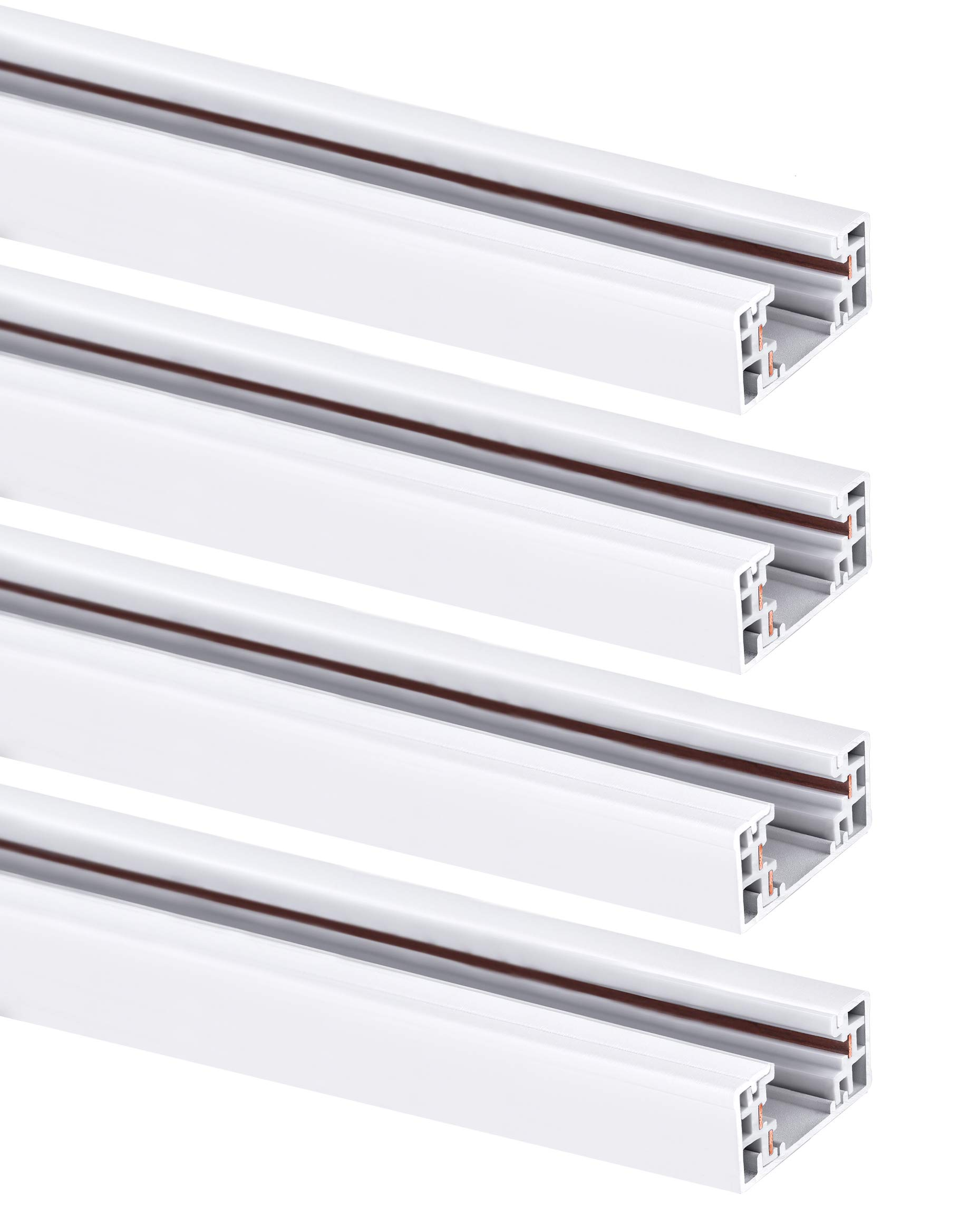 Hyperikon Track Lighting Section, 4ft H Track Rail, White Single Circuit 3-Wire Track Rail (Pack of 4)