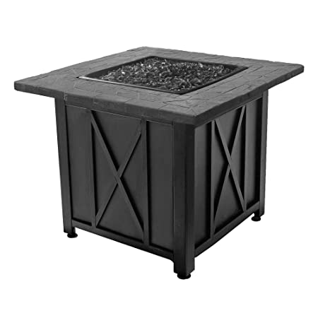 Endless Summer Blue Rhino Outdoor Propane Gas Black Lava Rock Patio Fire Pit