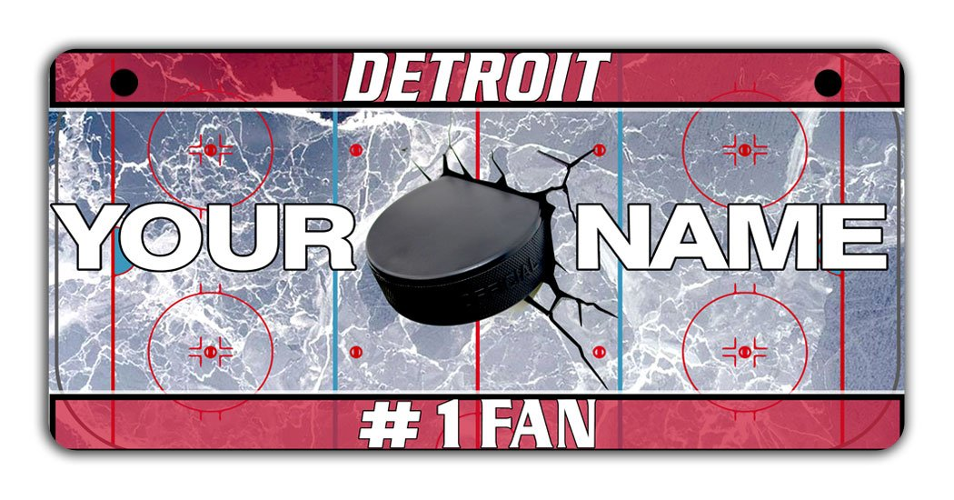 BRGiftShop Personalize Your Own Hockey Team Detroit Bicycle Bike Stroller Childrens Toy Car 3x6 License Plate Tag