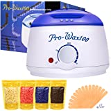 Boniss Hard Wax Warmer Hair Removal Waxing kit Electric Hot Heater Wax Melter with 15 Wax Applicator Sticks and 4 Flavors Hard Wax Beans 3.5 oz a Bag(Strawberry, Lavender,Milk,Chocolate)