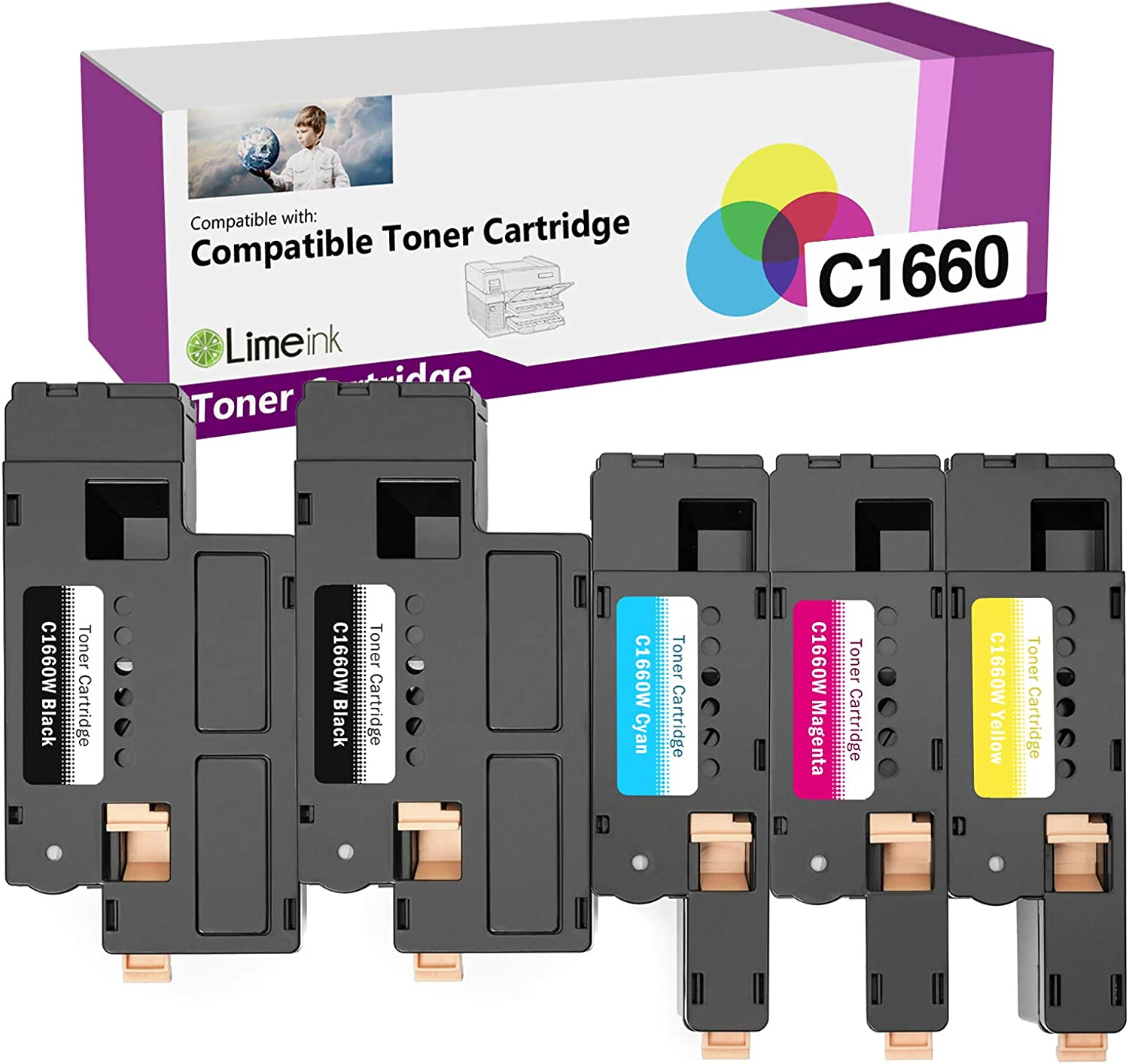Limeink 5 Pack Compatible High Yield Laser Toner Cartridges Replacement for Dell C1660 4G9HP (2 Black, 1 Cyan, 1 Magenta, 1 Yellow) Compatible with C1660 C1660W C1660cnw 1660 1660W, 1660cnw Printers