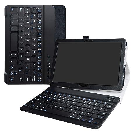 MediaPad M5 Lite Wireless Keyboard Case,LiuShan Detachable Wireless Keyboard Standing PU Leather Cover for