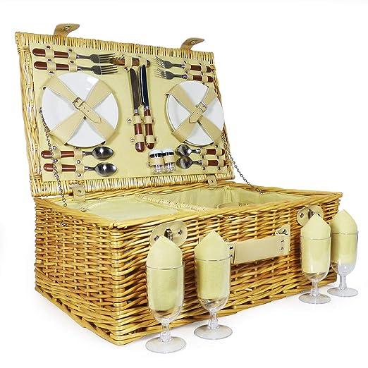 Hochzeit Ruhestand Die Ideale Geschenkidee Zum Geburtstag Luxuri/öser Weiden Picknickkorb Sutton f/ür 4 Personen Mit Gr/ün Farbener Fleece Decke Und Integriertem K/ühlfach