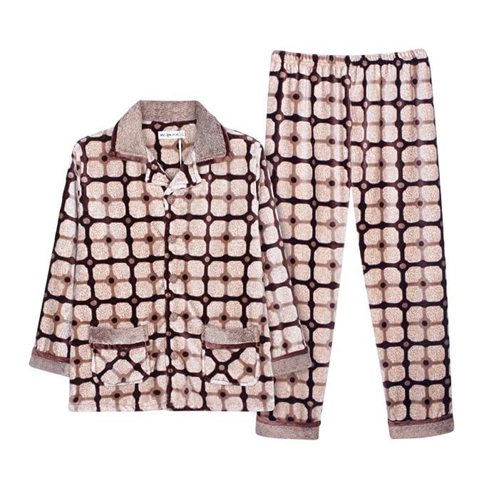 Pijamas Para Hombre Set Plus Size Espesar Coral Ropa De Dormir: Amazon.es: Ropa y accesorios