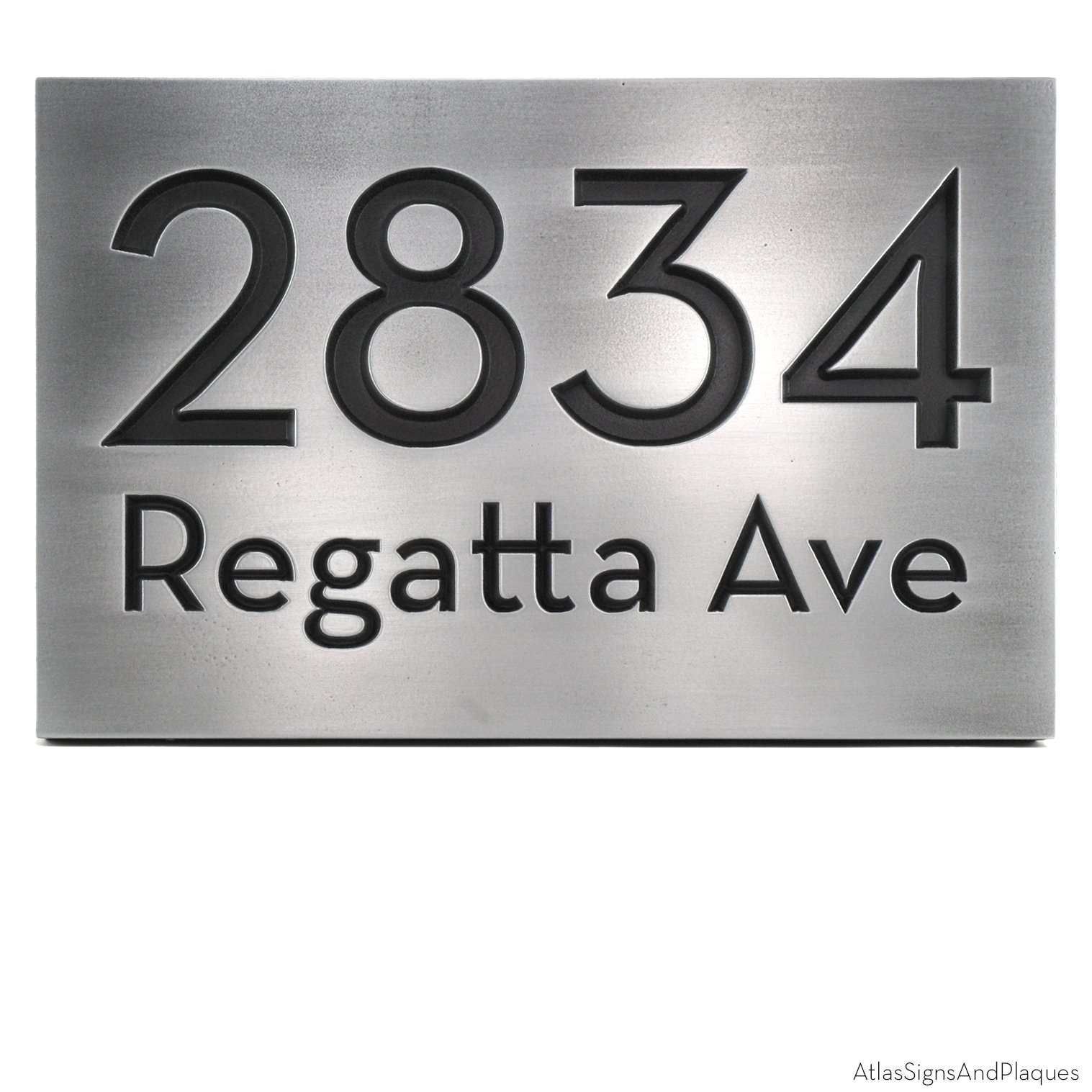 Bold Classy Modern Font Address Plaque - 13x8.5 - Pewter Metal Coated Recessed Number Sign by Atlas Signs and Plaques