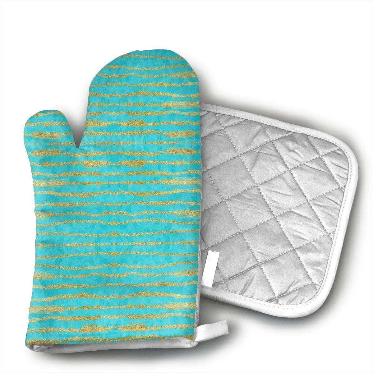 VAMIX Thin Gold Glitter Stripes + Turquoise Oven Mitts,Professional Heat Resistant Microwave BBQ Oven Insulation Thickening Cotton Gloves Baking Pot Mitts Soft Inner Lining Kitchen Cooking