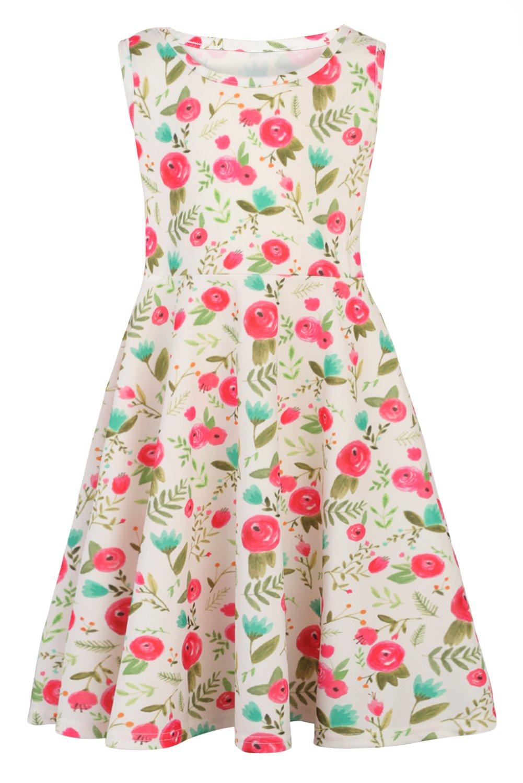 BFUSTYLE Teens Girls 3D Digital Print Sleeveless Casusl Tutu Dress Skirts Green for 7 yrs Years Old M (Flower, M)