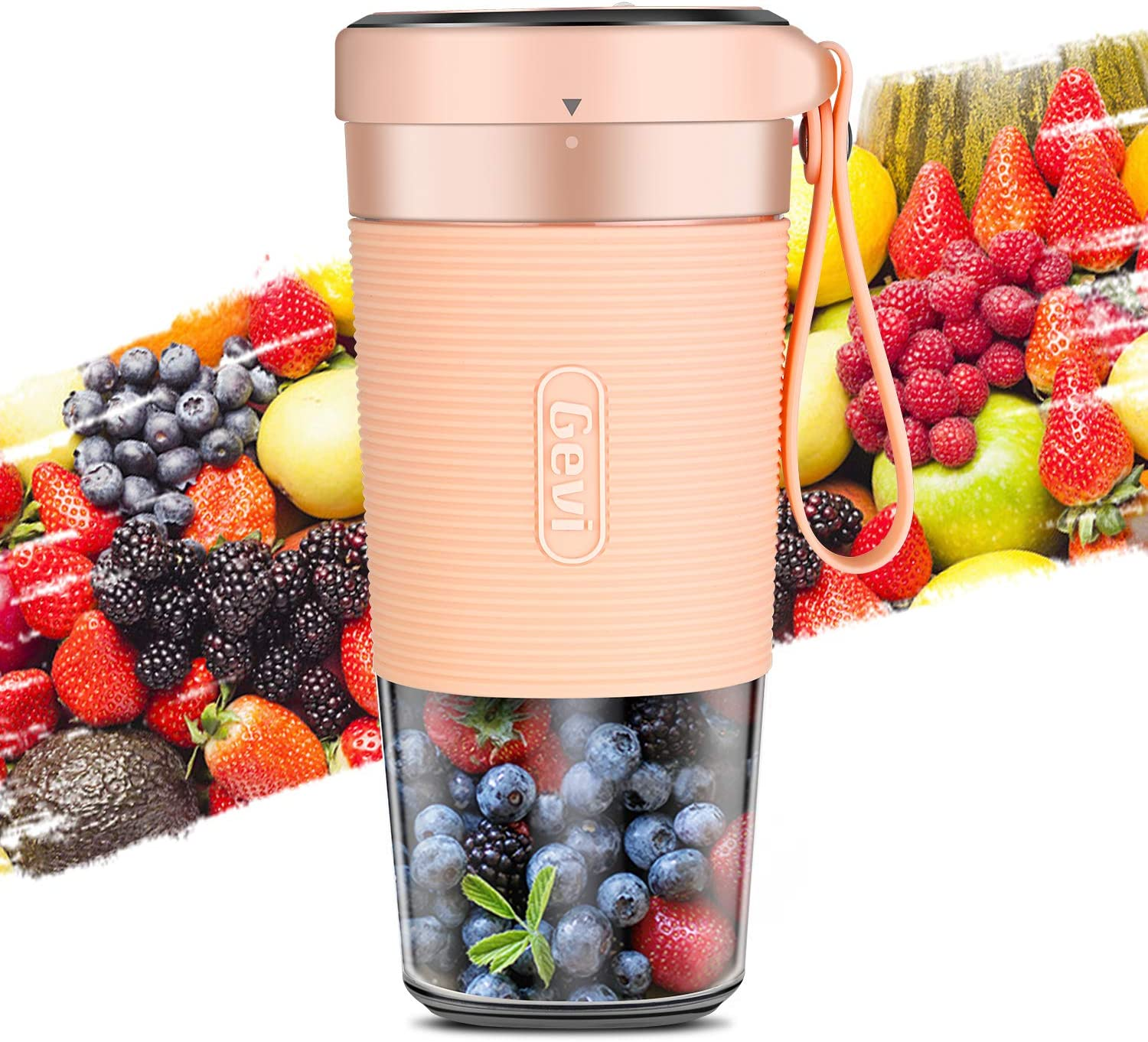 Portable Blender For Juice, Shakes and Smoothies, Cordless Personal Size Blenders With USB Rechargeable, BPA Free Juicer Mixer Cup For Home, Office, Sports, Travel, Outdoors, Low DB, 300ml, 50W, PINK