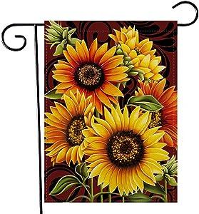 Artofy Home Decorative Sunflowers Garden Flag, Summer Fall House Yard Outdoor Welcome Decor Autumn Vintage Outside Flower Decoration Sign, Farmhouse Seasonal Small Burlap Flag Double Sided 12 x 18
