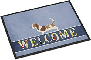 Caroline's Treasures BB5506MAT Basset Hound Welcome Indoor or Outdoor Mat 18x27, 18H X 27W, Multicolor