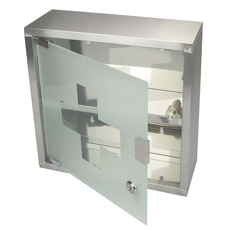 01 Pezzi - 30x30x12cm Opaco COM-FOUR/® Armadio per medicinali in Acciaio Inossidabile con Porta in Vetro Opaco bloccabile