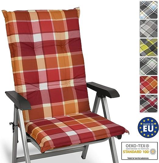 Beautissu Cuscino per Sdraio, poltrone e sedie da Giardino Sunny RO Rosso 120x50x6cm Extra Comfort Colori Resistenti ai Raggi UV