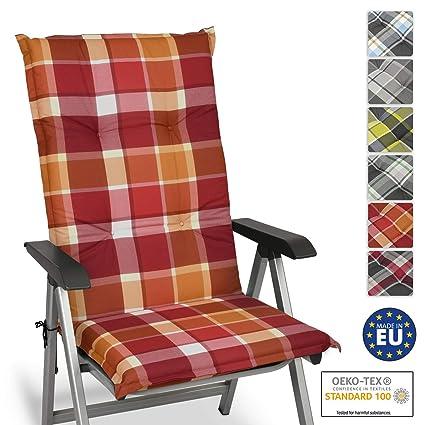 Beautissu Cojín para sillas de Exterior y jardín con Respaldo Alto Sunny RO Rojo 120x50x6 cm tumbonas, mecedoras, Asientos cómodo Acolchado ...