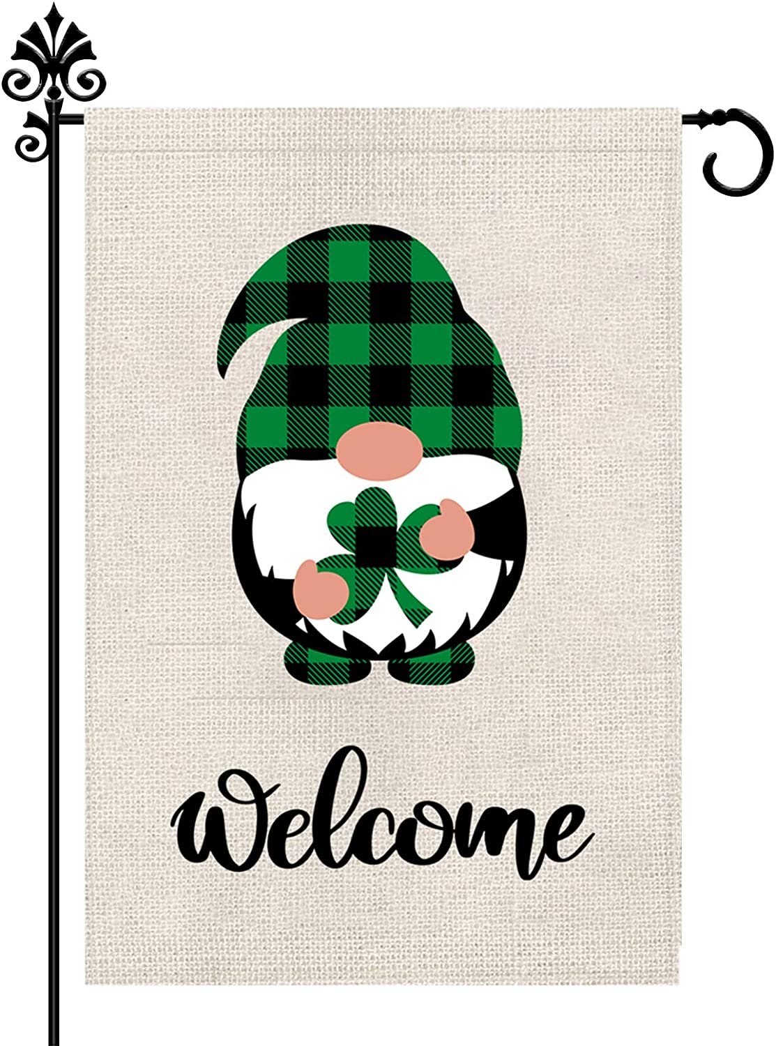 St Patrick's Day Garden Flag Welcome Shamrocks Gnome Vertical Double Sided Gnomes Outdoor Yard Decoration 12 x 18 Inch