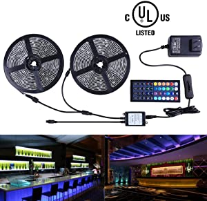 Miheal Led Strip Lights Kit 32.8 Ft (10m) 300leds Waterproof 5050 SMD RGB LED Flexible Lights with 44key ir Controller and Power Supply for Home,Kitchen,Trucks,Sitting Room and Bedroom Decoration.