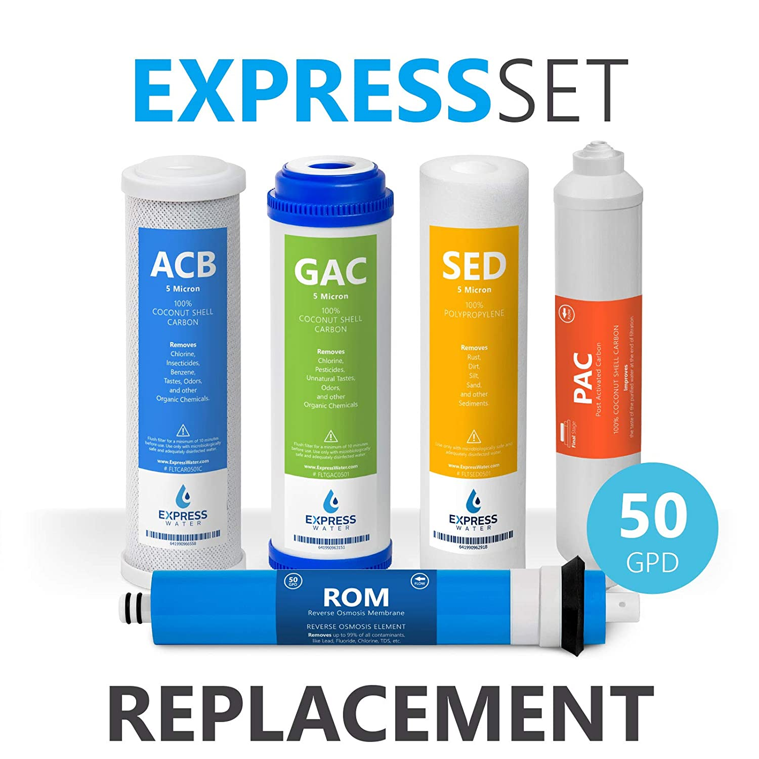 Express Water – 6 Month Reverse Osmosis System Replacement Filter Set – 5 Filters with 50 GPD RO Membrane – 10 inch Size Water Filters