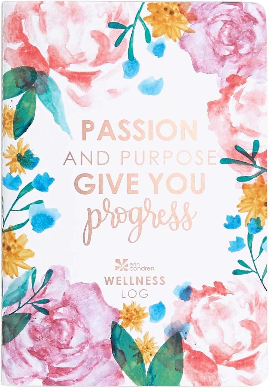 Erin Condren Designer Petite Planner - Wellness Log Edition 3, Track Habits for Sleep, Water Intake, Steps Taken, and Goals. Includes Inspirational and Fun Sticker Set