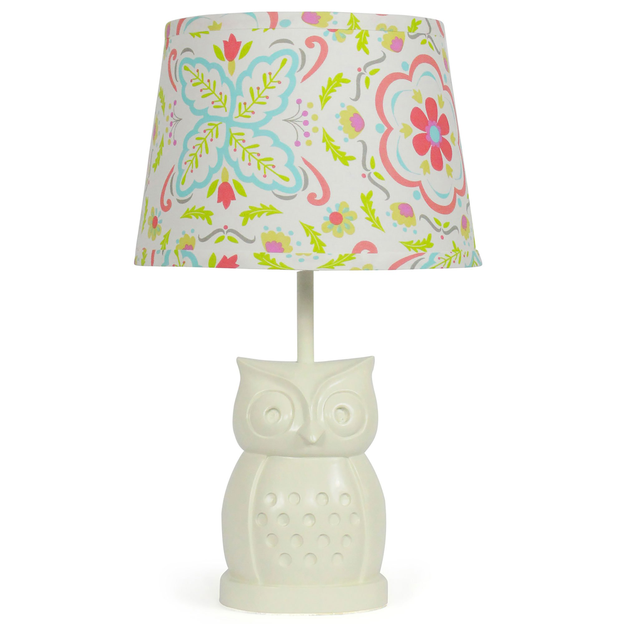 Coral Floral Nursery Lamp Shade with White Owl Base, CFL Bulb Included