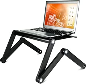 Mount-It! Ergonomic Laptop Stand, Adjustable Vented Laptop Table, Portable and Lightweight, Multifunctional for Work, School, Home, and Bed