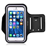 Water Resistant Cell Phone Armband: 5.2 Inch Case for iPhone 7, 6, 6S, SE, 5, 5C, 5S, and Galaxy S5, S6/S7 Edge, Google Pixel - Adjustable Reflective Velcro Workout Band, Key Holder & Screen Protector