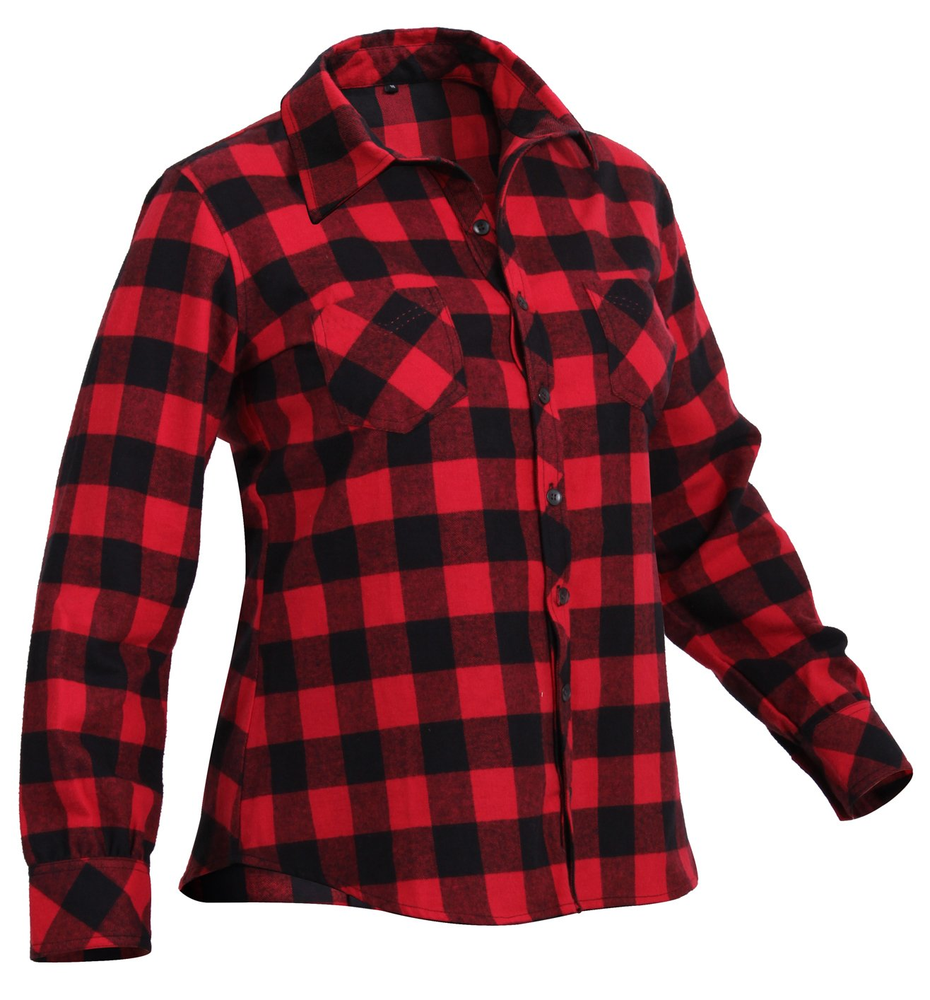 Rothco Womens Plaid Flannel Shirt, L, Red/Black by Rothco