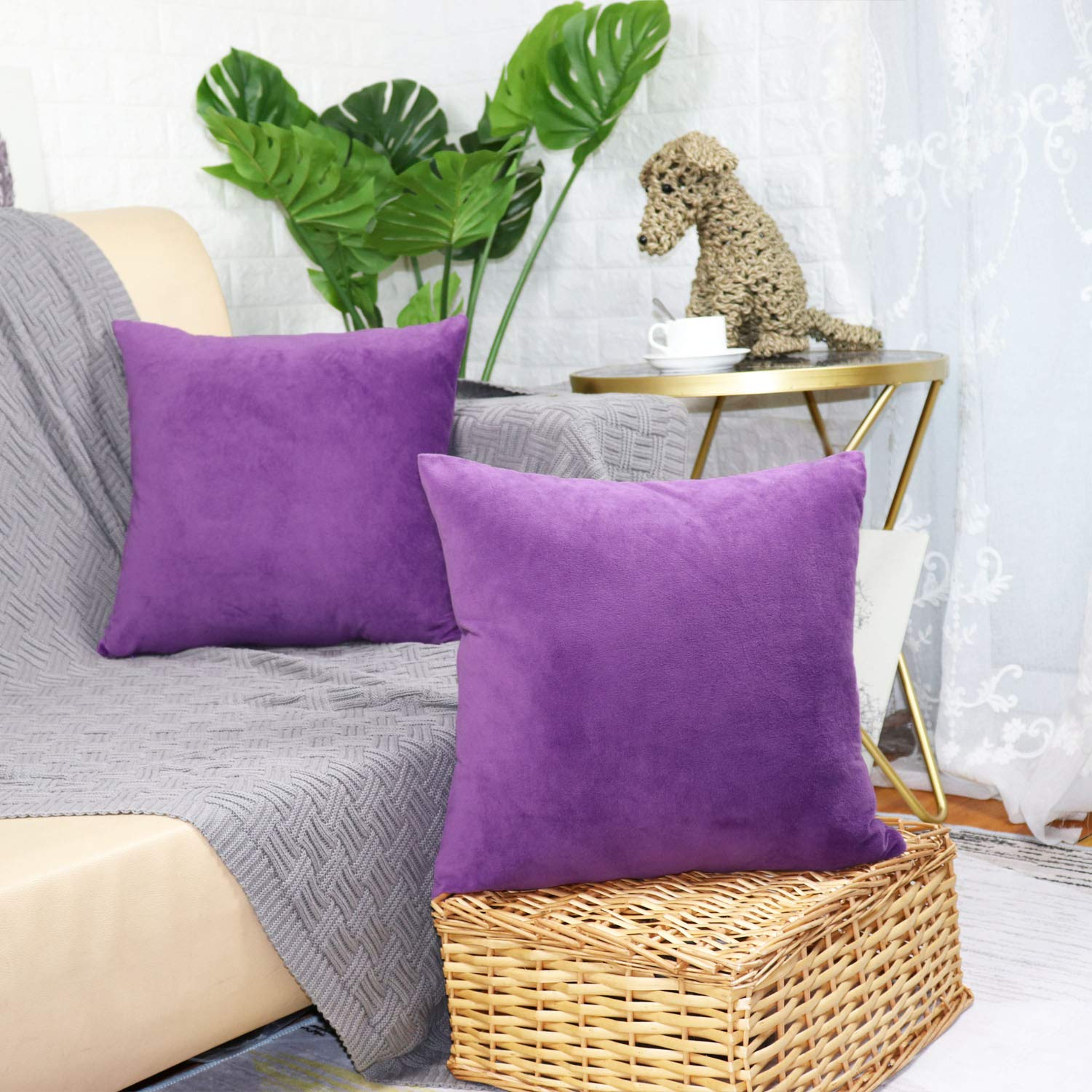 sykting Decorative Pillow Covers 18 x 18 Square Pillow Cases Set of 5 Coushion Covers Spring Colorful Cotton Linen JWstyle1000