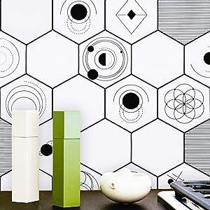 "HeloHo Black White Peel and Stick Wallpaper Modern Geometry Stripe Self Adhesive Shelf Liner Removable Wallpaper Vinyl Film Wall Paper Roll DIY 118""x17.7"""