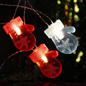 Impress Life Christmas Eve Gloves String Lights,10 ft 20 LED Light-up Red Mittens Shape Ornaments Battery Operated with Remote for Indoor Outdoor Xmas Tree, DIY Home Huse Fireplace Mantel Santa Gifts