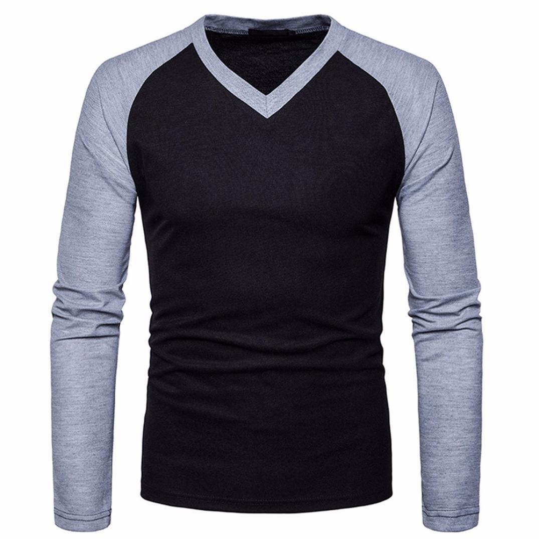 Realdo Mens V Neck T-Shirt Casual Slim Long Sleeve Splice Patchwork Blouse Top