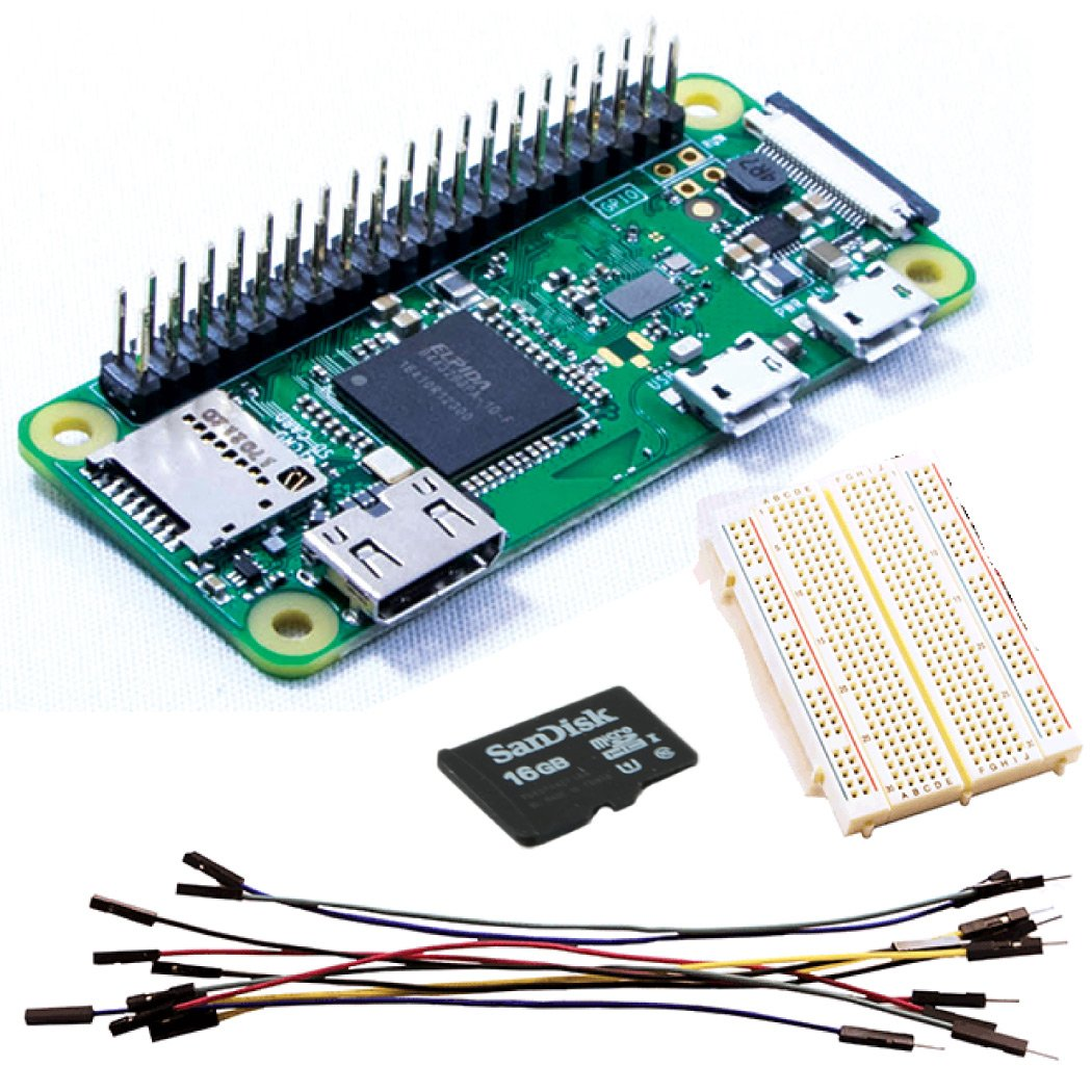 Raspberry Pi Zero W Easy (con bestückter cabecera) electrónica Mini Kit de con Breadboard, cables Jumper (Male - > Female) & microSD de 16 GB Class 10 ...