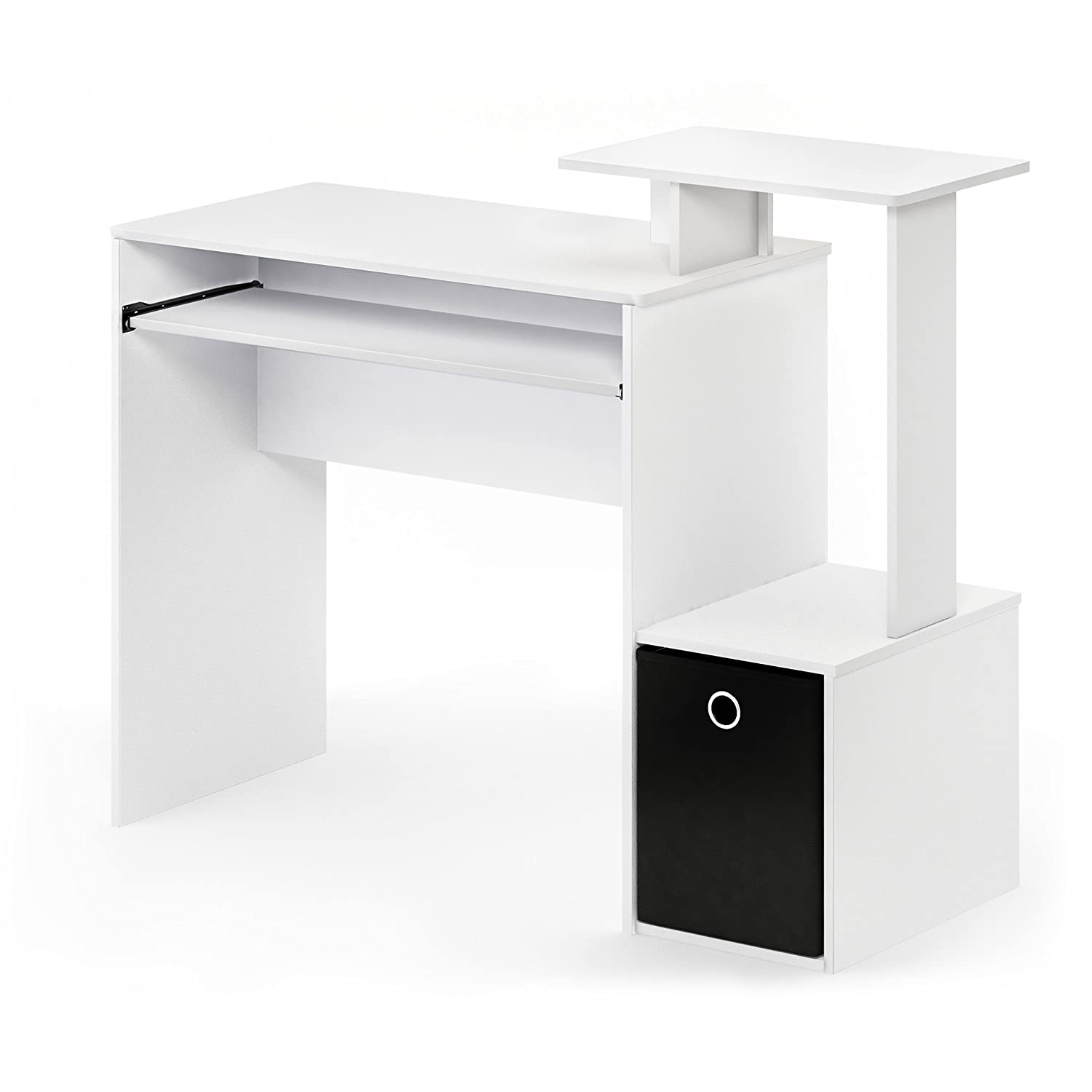 FURINNO Econ Multipurpose Home Office Computer Writing Desk, White/Black