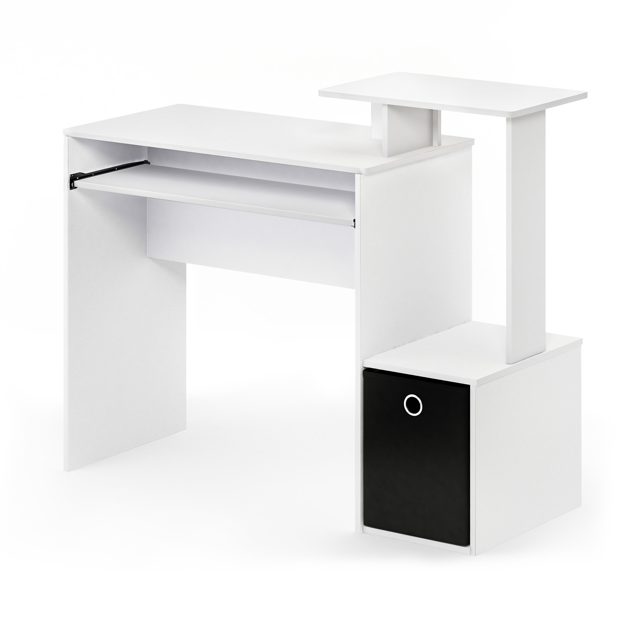 FURINNO 12095WH/BK Econ Home Computer Desk with Shelves, White/Black