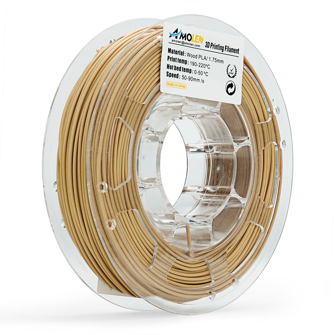 AMOLEN 3D Printer Filament, Wood Color PLA Filament 1.75mm +/- 0.03 mm, 0.5 LBS(225G), includes Sample Shining Silver &White Flexible Filament. Wood Color PLA Filament 1.75mm +/- 0.03
