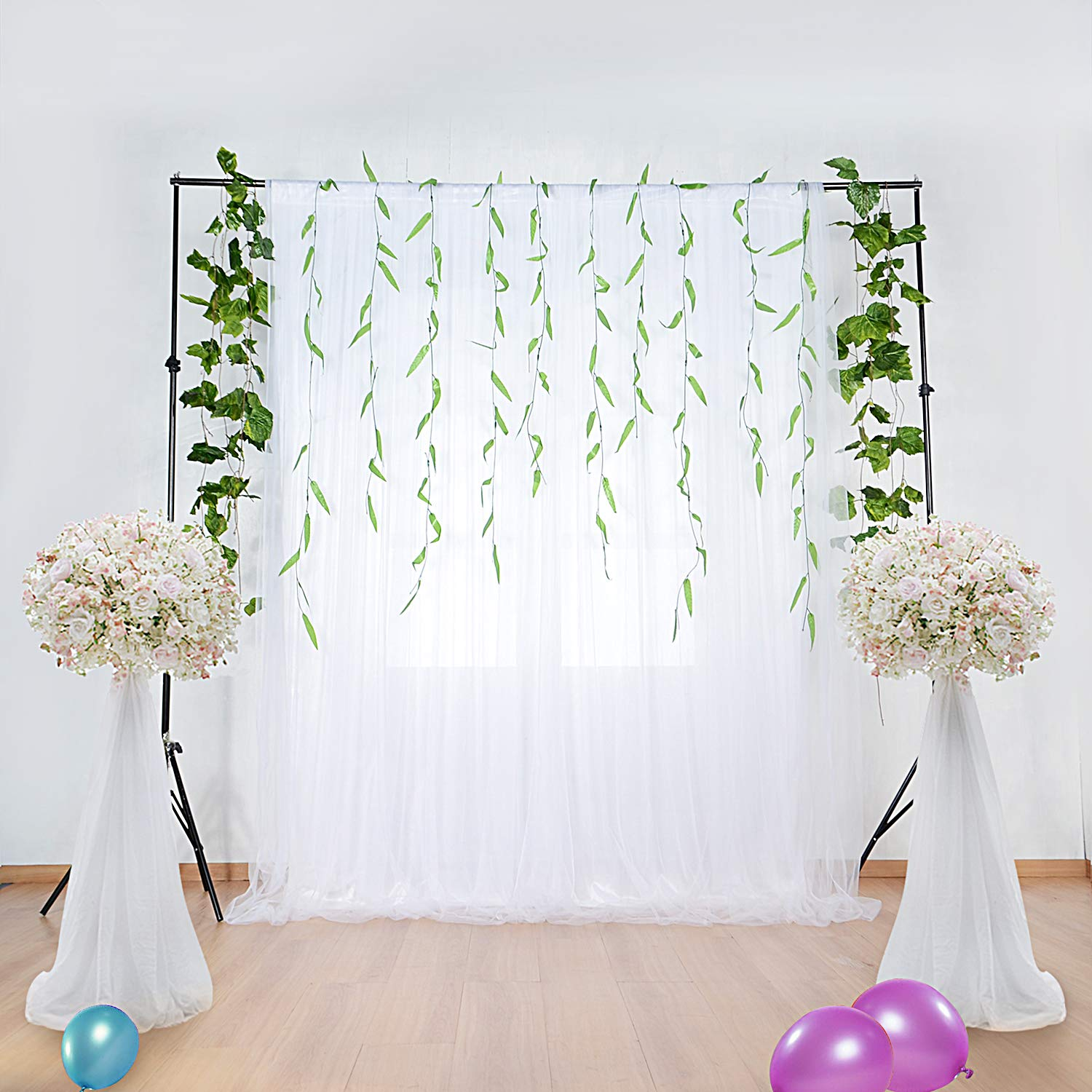 White Tulle Backdrop Curtains for Baby Shower Party Wedding Photo Drape Backdrop for Engagement Bridal Shower Photography Props 5 ft X 7 ft by leegleri