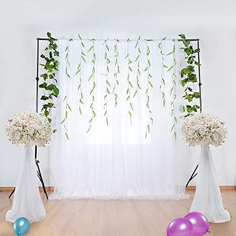 Amazon White Tulle Backdrop Curtains For Party Wedding Baby