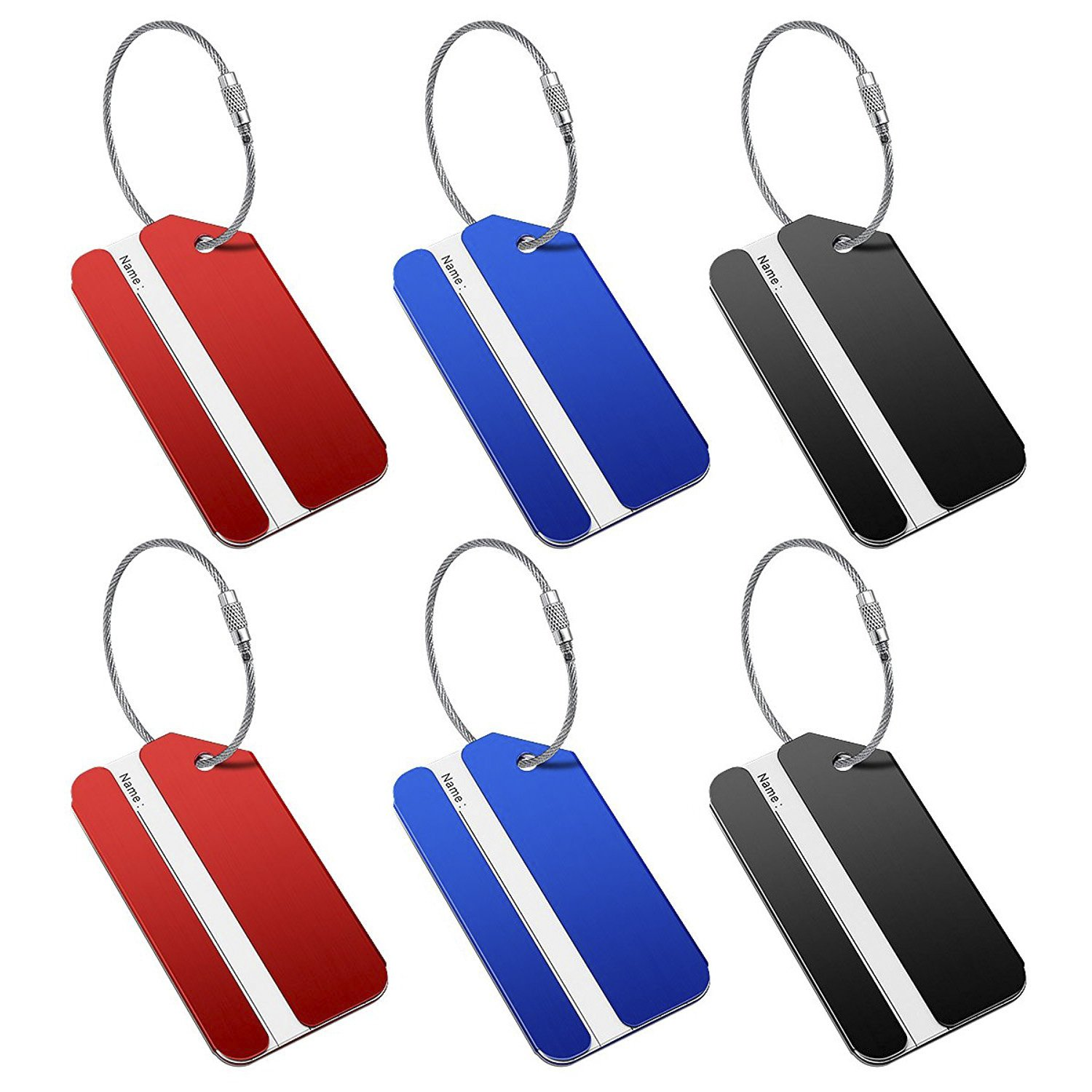 Luggage Tags 6 Pack Travel Bag Tags Women Men Aluminum Suitcase Tag with Stainless Steel Loop (2 black, 2 red, 2 blue) by HONITURE (Image #6)