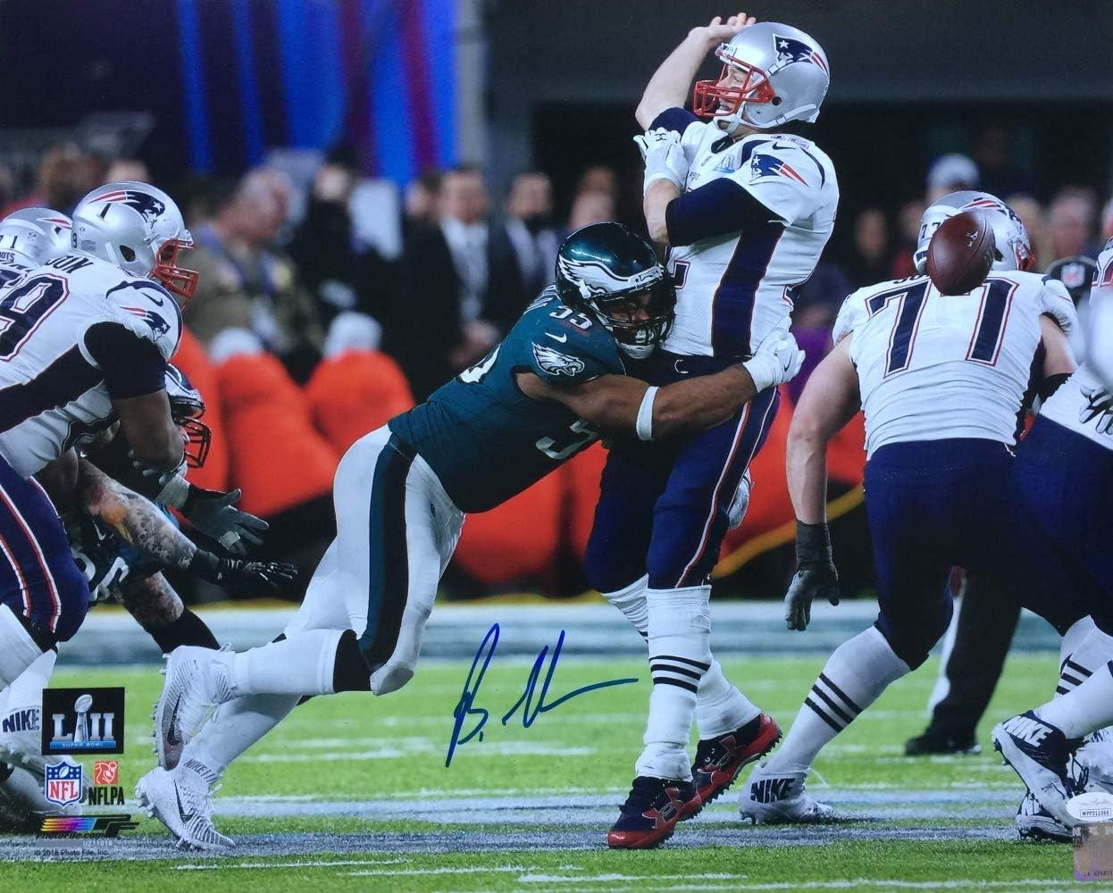 Brandon Graham Signed 16x20 Eagles Super Bowl 52 Tom Brady Strip Sack Photo JSA