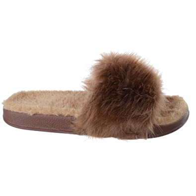 cb098ccf New Ladies Womens Flat Fur Fluffy Sliders Slippers FLIP Flop Sandals Shoes  Size [Brown UK