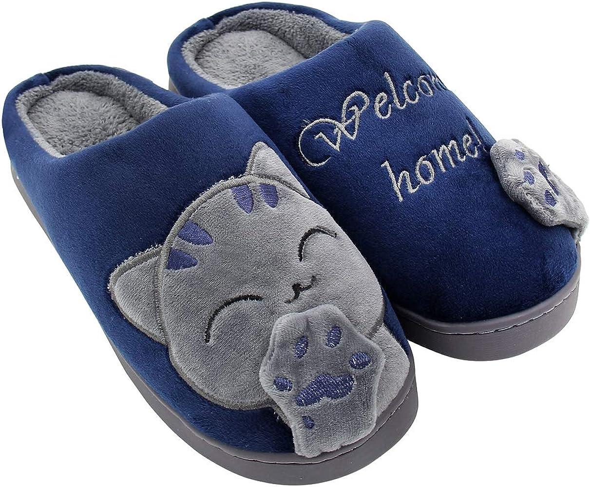 ALOTUS Women Men Memory Foam Winter Slippers Booties Animal Cute Cartoon Cat Warm Fuzzy Bedroom Shoes Big Girl Anti Skid