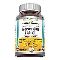 Amazing Omega Norwegian Fish Oil 1250mg 120 Softgels (Non GMO,Gluten Free) -Supports Anti-inflammatory, Heart, Joint & Brain Health