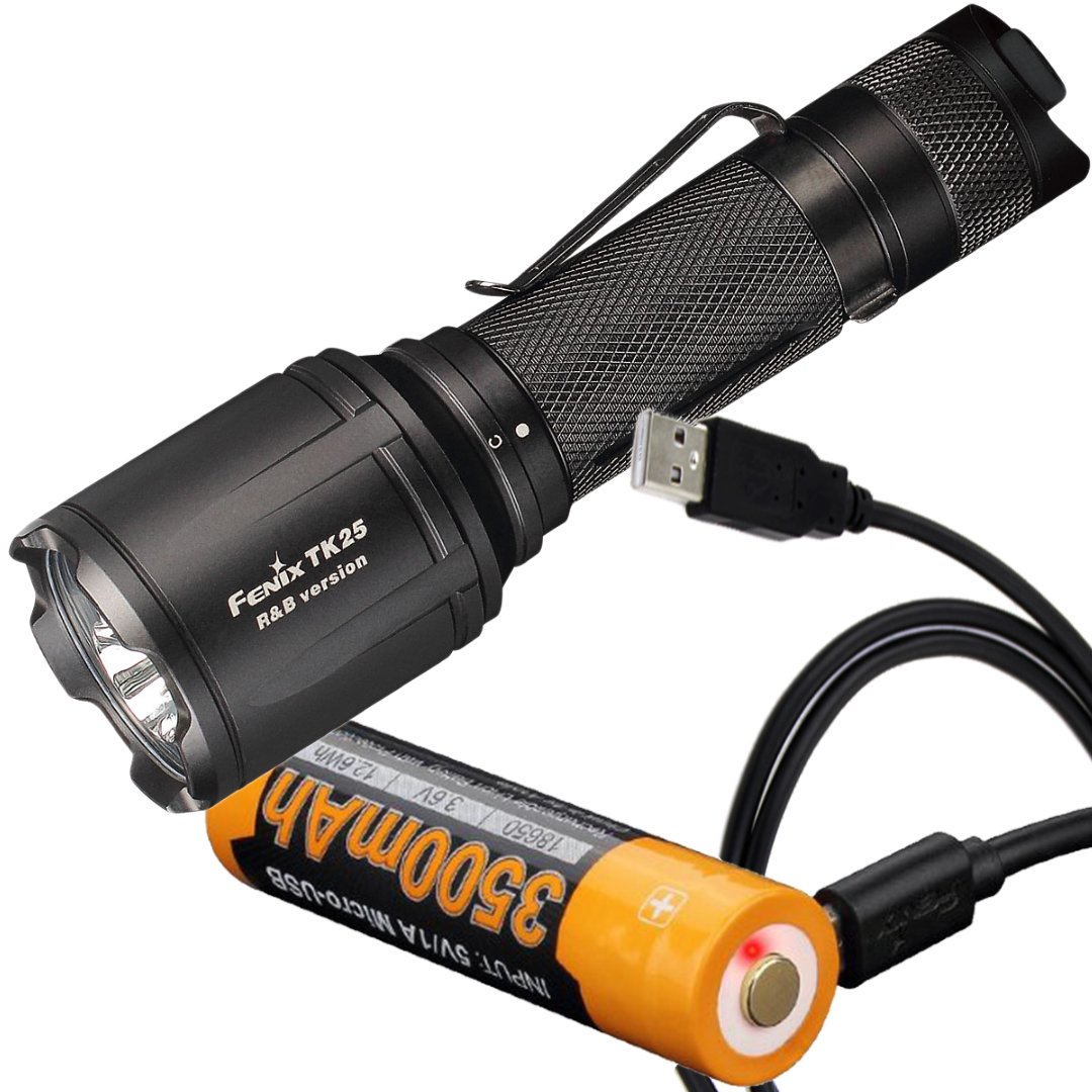 Fenix TK25 R&B 1000 Lumen Multi-Color White Red & Blue LED Tactical Flashlight with Fenix ARB-L18-3500U 3500mAh 18650 Battery with Built-in Micro-USB Port & LumenTac Charge Cable by Fenix