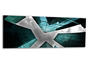 KD Dsign+ XXL Glasbild AG312500479 MURAL ARCHITEKTUR TÜRKIS 125 x 50 ...