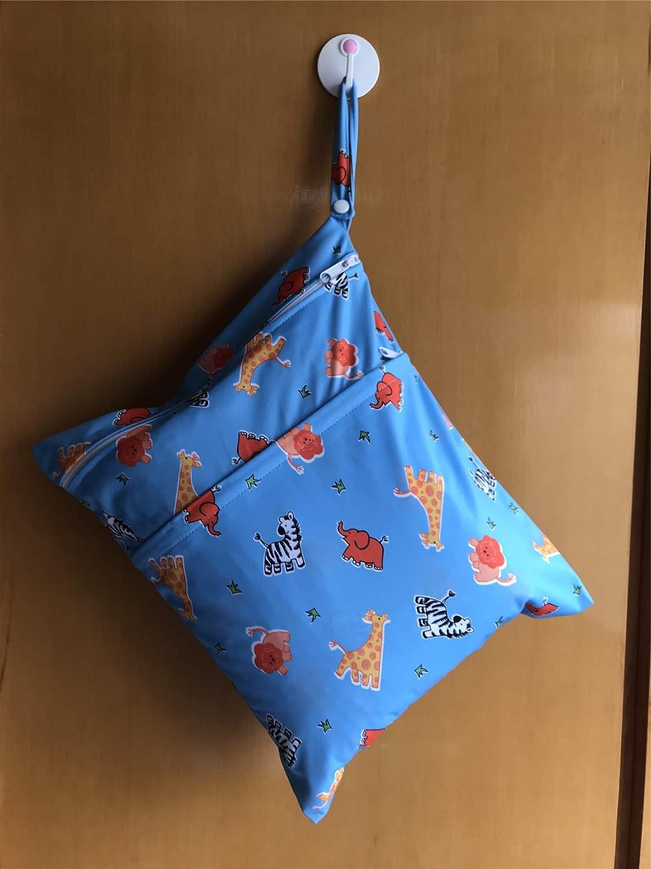 Sac sec humide pour sac de couche de tissu de b/éb/é nappy r/éutilisable avec deux poches zipp/ées Monkey